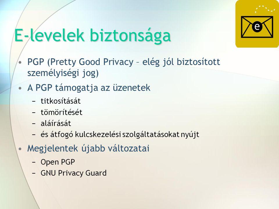 E-levelek biztonsága PGP (Pretty Good Privacy – elég jól biztosított személyiségi jog) A PGP támogatja az üzenetek.