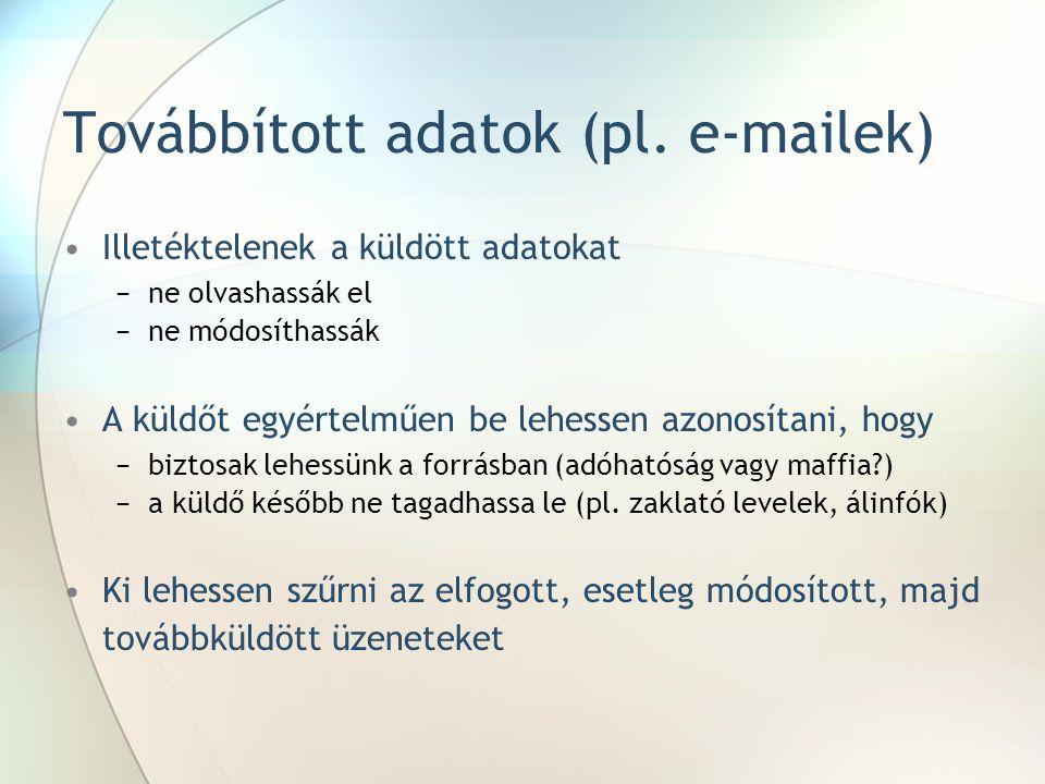 Továbbított adatok (pl. e-mailek)