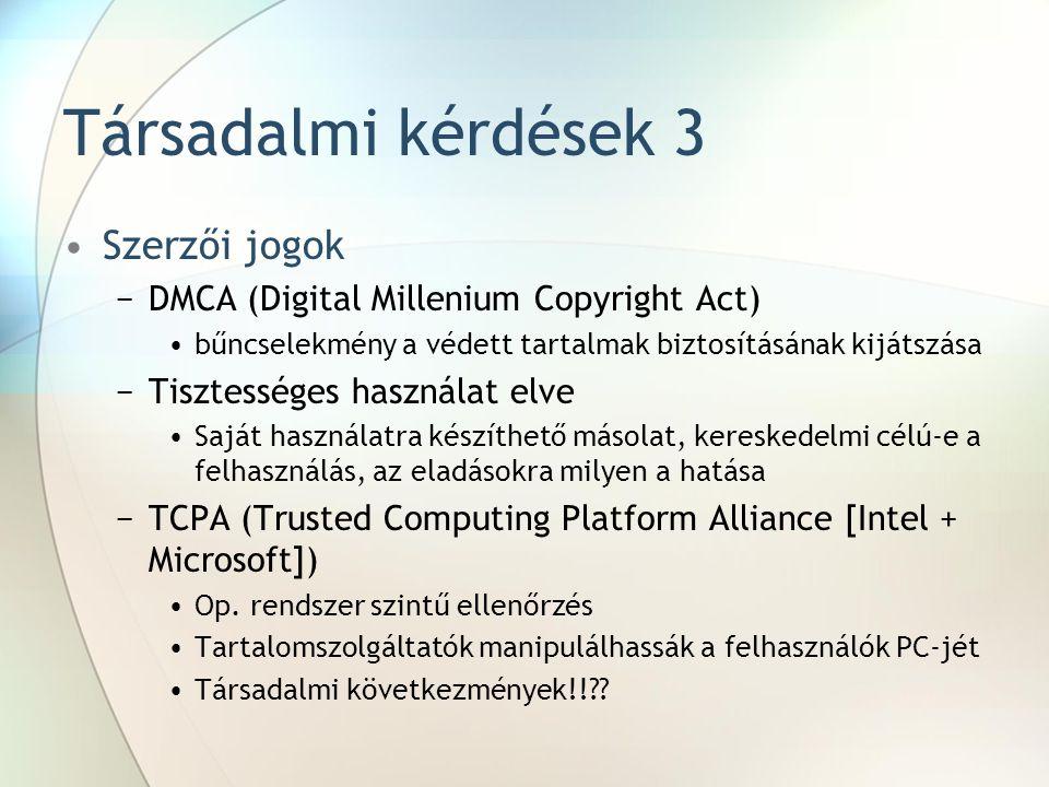 Társadalmi kérdések 3 Szerzői jogok