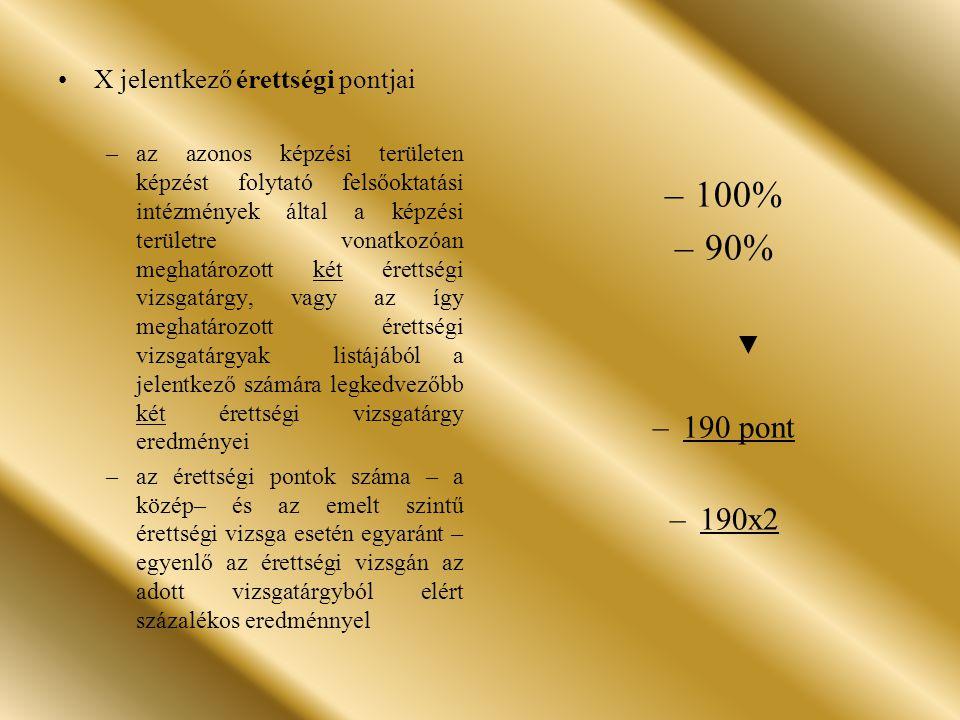 100% 90% 190 pont 190x2 X jelentkező érettségi pontjai ▼