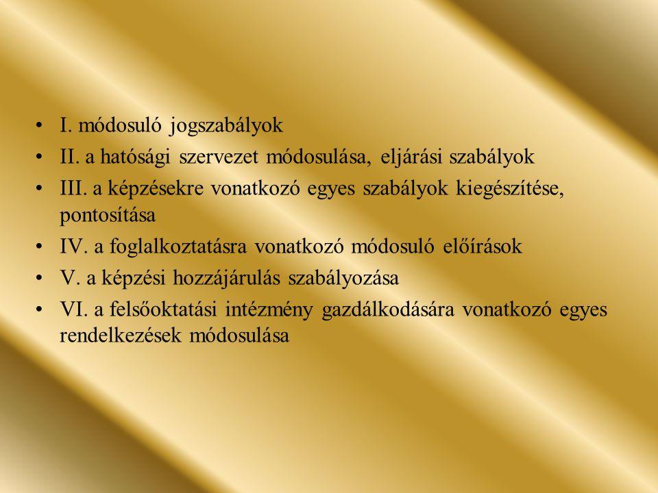 I. módosuló jogszabályok