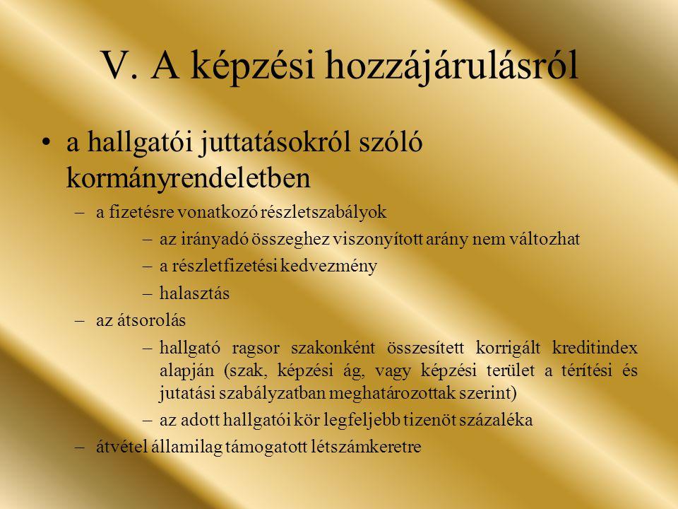 V. A képzési hozzájárulásról