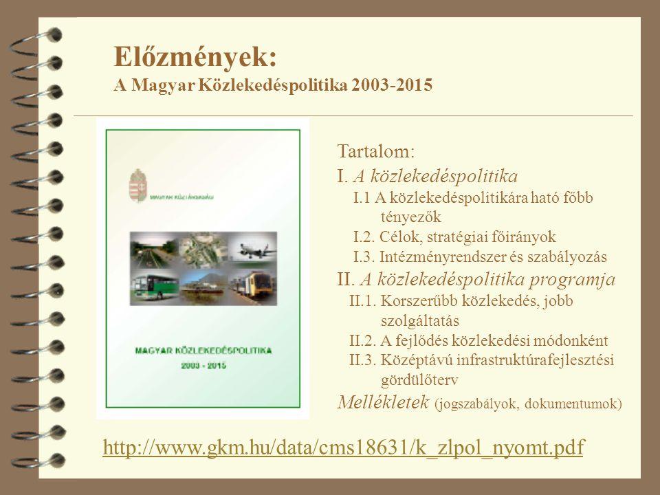 Előzmények: A Magyar Közlekedéspolitika 2003-2015
