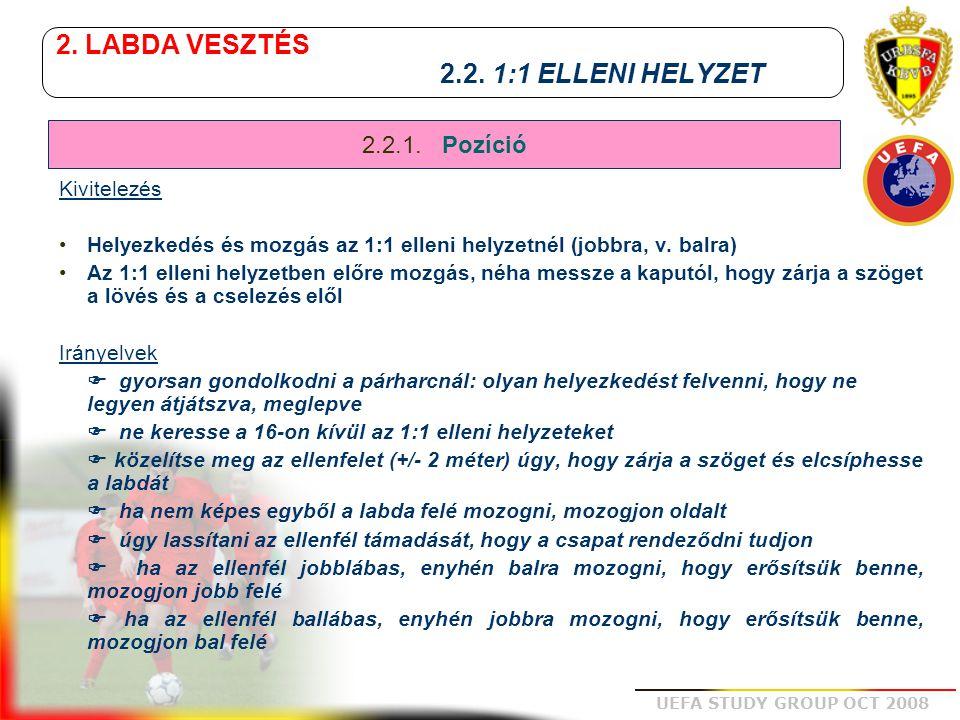 2. LABDA VESZTÉS 2.2. 1:1 ELLENI HELYZET