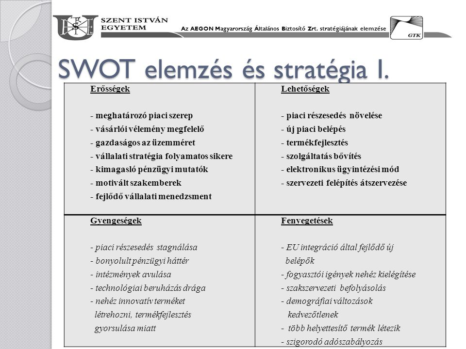 SWOT elemzés és stratégia I.