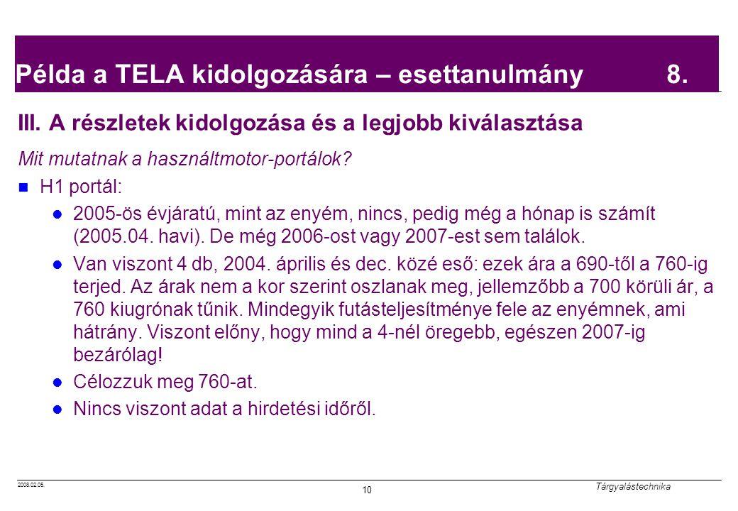 Példa a TELA kidolgozására – esettanulmány 8.