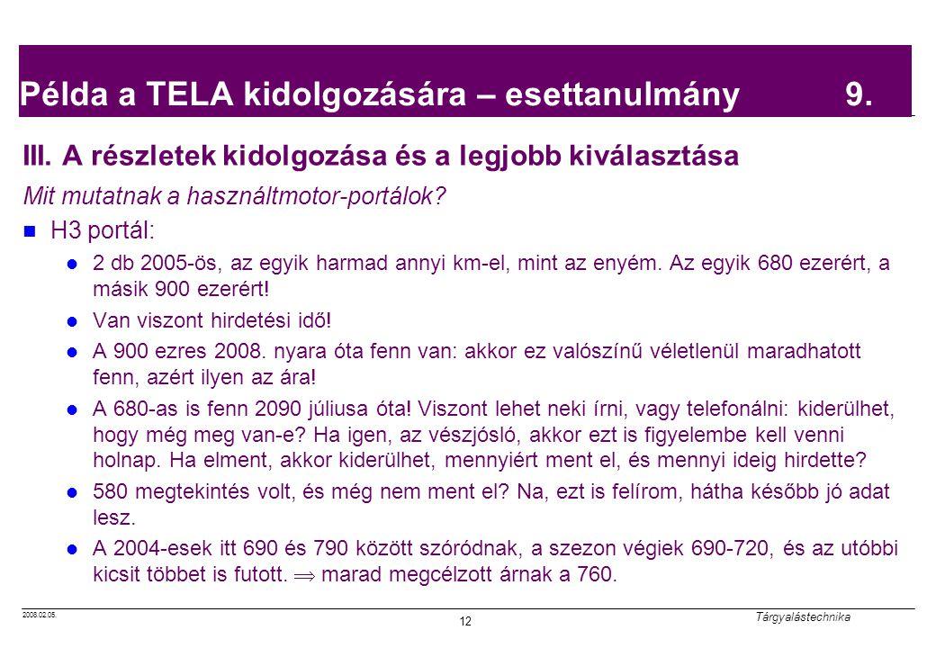 Példa a TELA kidolgozására – esettanulmány 9.
