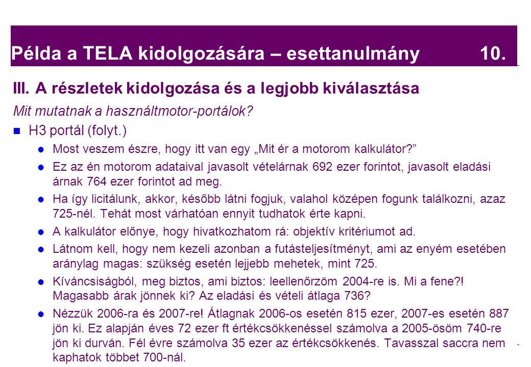 Példa a TELA kidolgozására – esettanulmány 10.