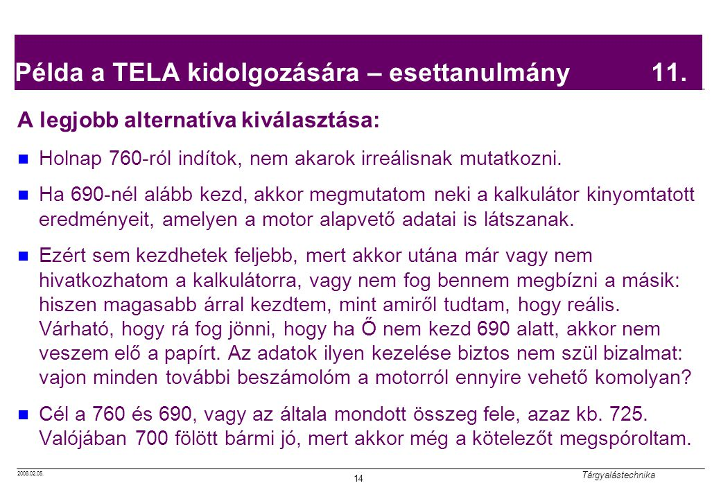 Példa a TELA kidolgozására – esettanulmány 11.