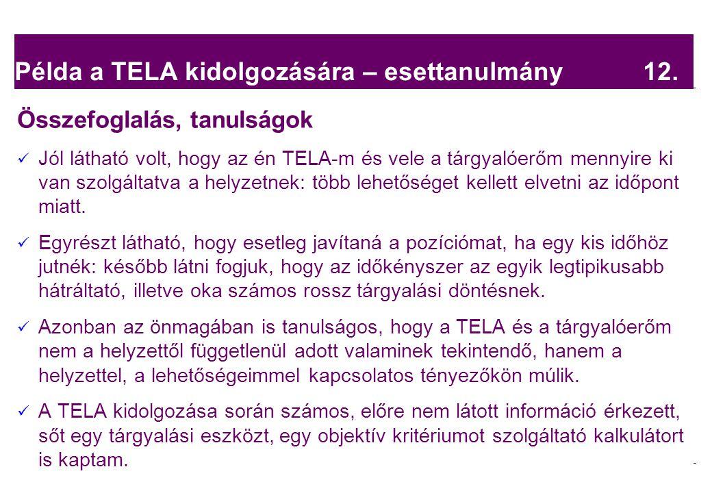 Példa a TELA kidolgozására – esettanulmány 12.