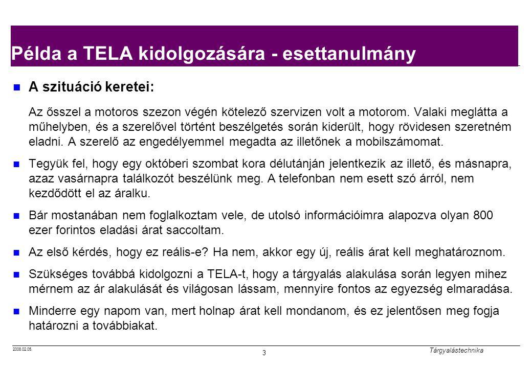 Példa a TELA kidolgozására - esettanulmány