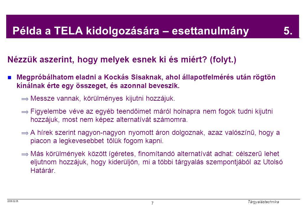 Példa a TELA kidolgozására – esettanulmány 5.