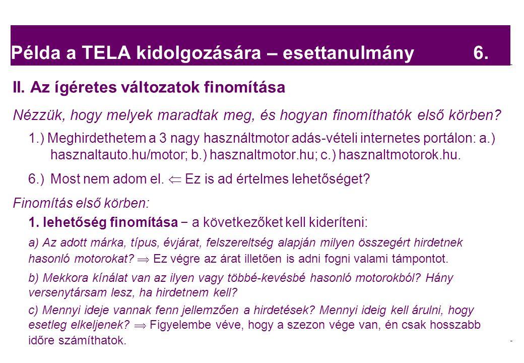 Példa a TELA kidolgozására – esettanulmány 6.