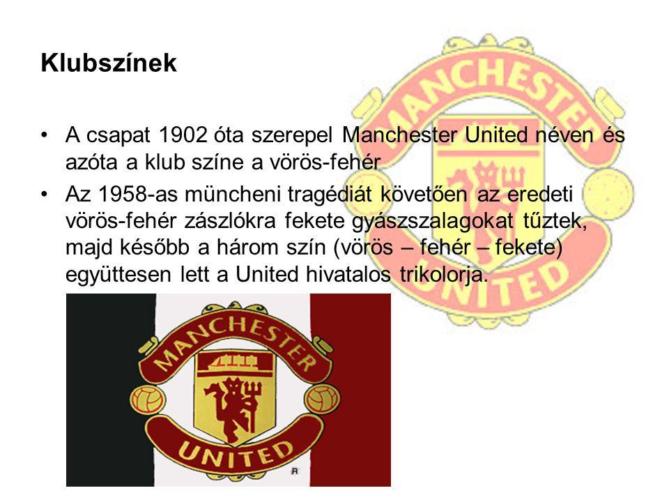 Klubszínek A csapat 1902 óta szerepel Manchester United néven és azóta a klub színe a vörös-fehér.