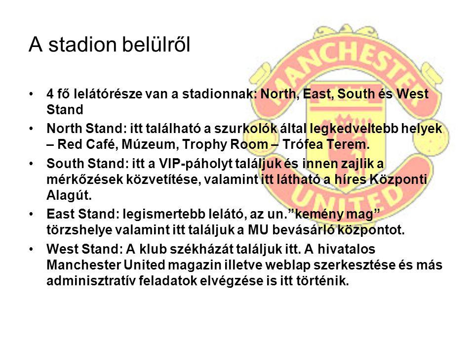 A stadion belülről 4 fő lelátórésze van a stadionnak: North, East, South és West Stand.