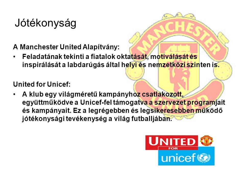 Jótékonyság A Manchester United Alapítvány: