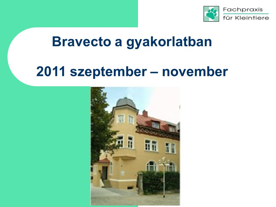Bravecto a gyakorlatban 2011 szeptember – november