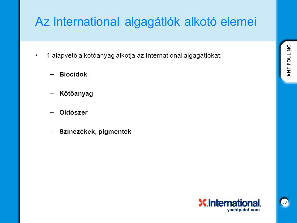Az International algagátlók alkotó elemei