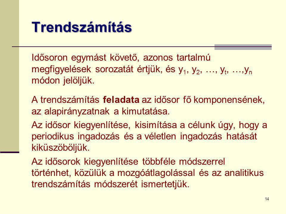 Trendszámítás Idősoron egymást követő, azonos tartalmú megfigyelések sorozatát értjük, és y1, y2, …, yt, …,yn módon jelöljük.