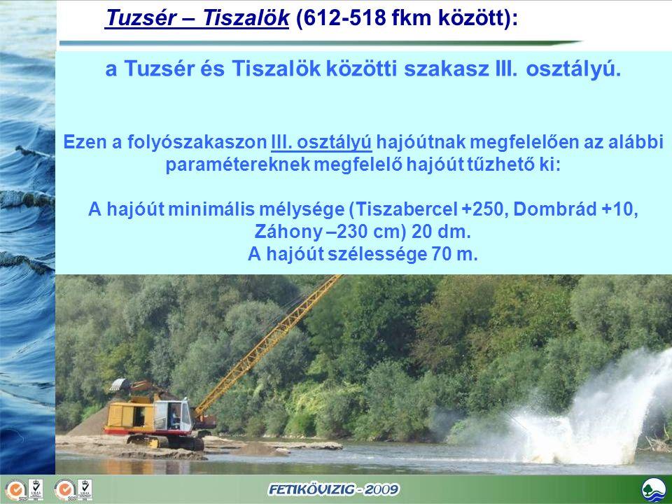 a Tuzsér és Tiszalök közötti szakasz III. osztályú.