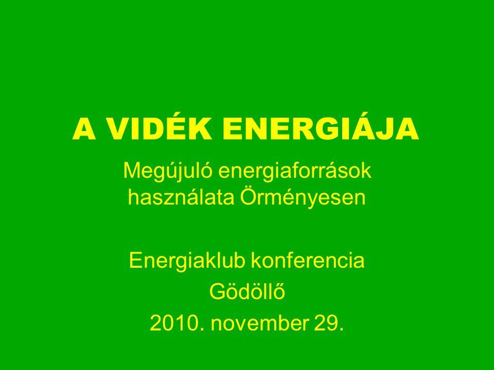 A VIDÉK ENERGIÁJA Megújuló energiaforrások használata Örményesen