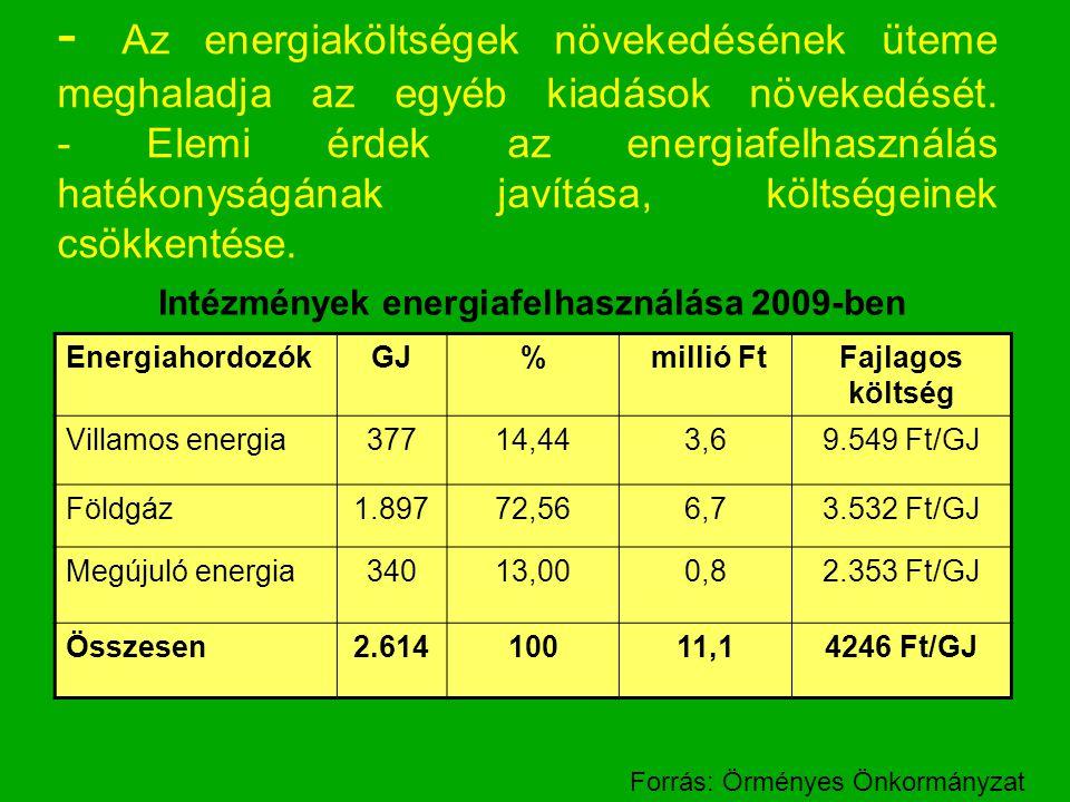 - Az energiaköltségek növekedésének üteme meghaladja az egyéb kiadások növekedését. - Elemi érdek az energiafelhasználás hatékonyságának javítása, költségeinek csökkentése.