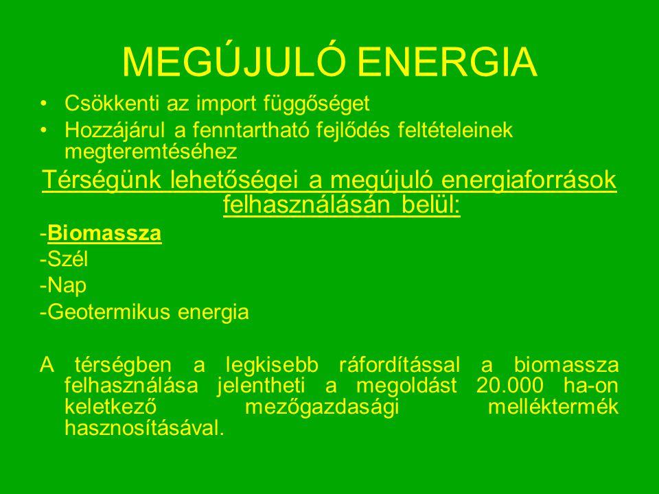 Térségünk lehetőségei a megújuló energiaforrások felhasználásán belül: