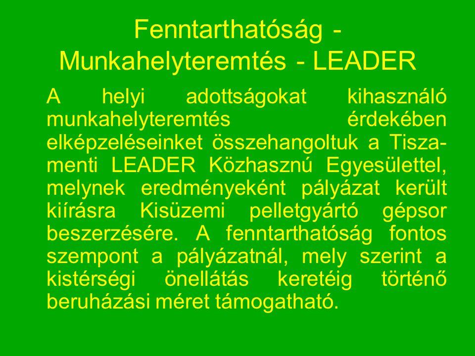 Fenntarthatóság - Munkahelyteremtés - LEADER