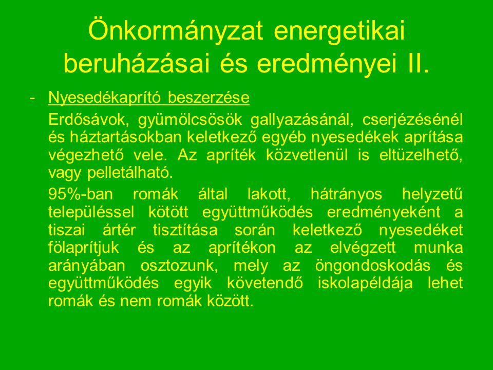 Önkormányzat energetikai beruházásai és eredményei II.