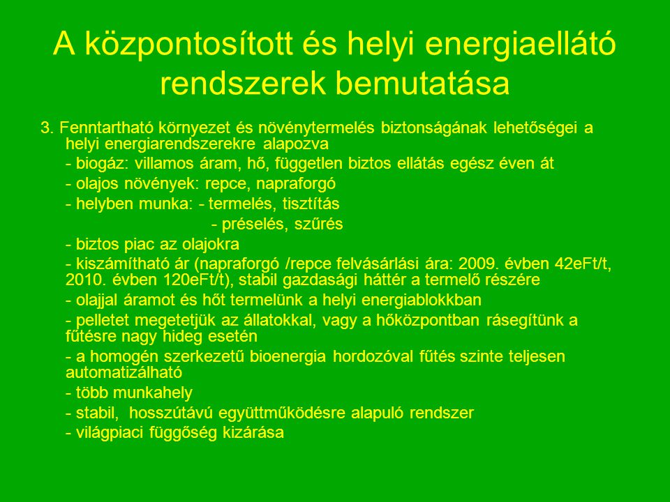 A központosított és helyi energiaellátó rendszerek bemutatása