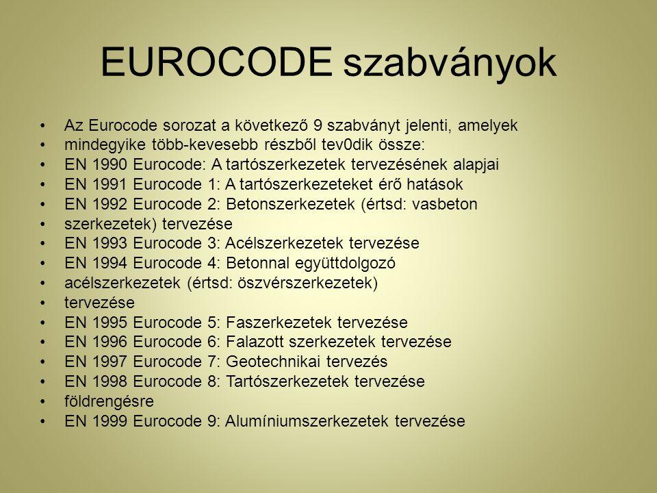 EUROCODE szabványok Az Eurocode sorozat a következő 9 szabványt jelenti, amelyek. mindegyike több-kevesebb részből tev0dik össze: