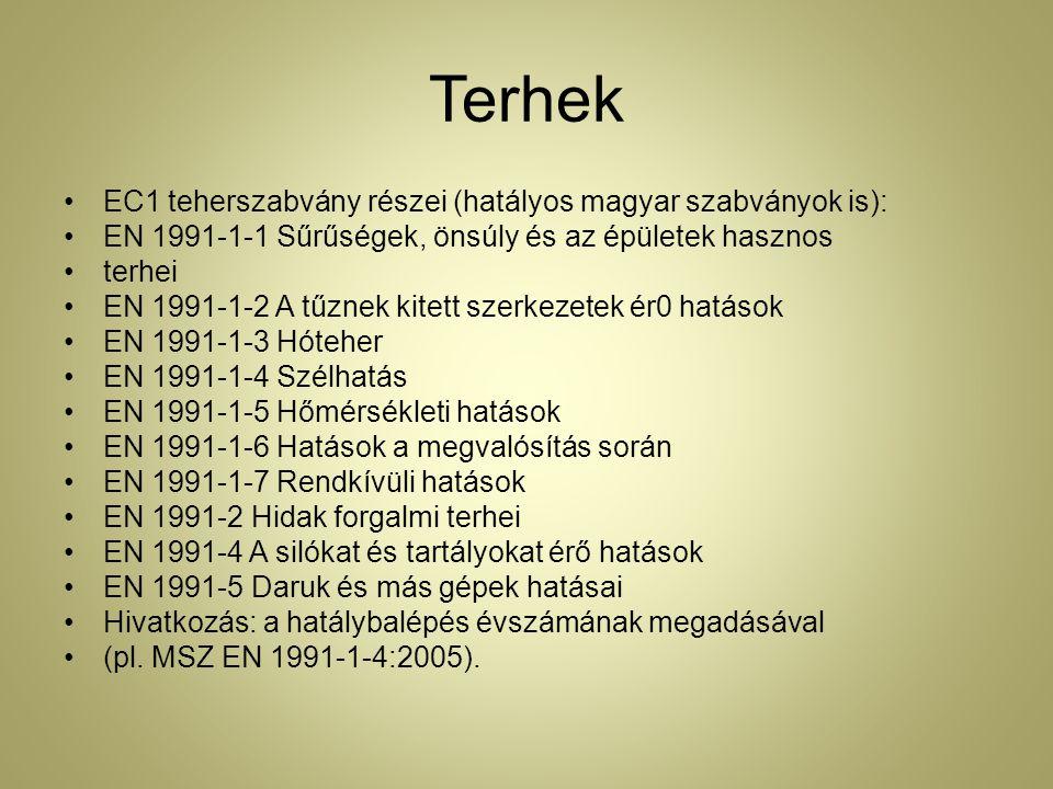 Terhek EC1 teherszabvány részei (hatályos magyar szabványok is):