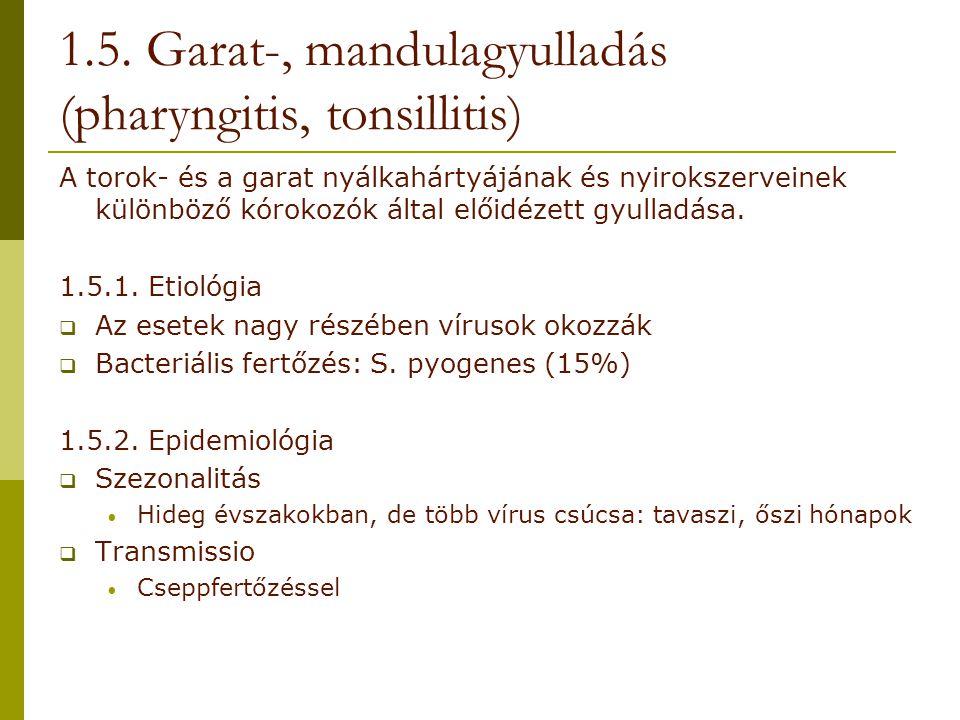 1.5. Garat-, mandulagyulladás (pharyngitis, tonsillitis)