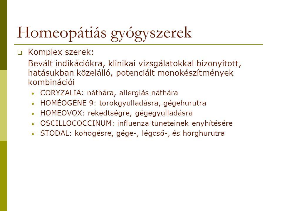 Homeopátiás gyógyszerek