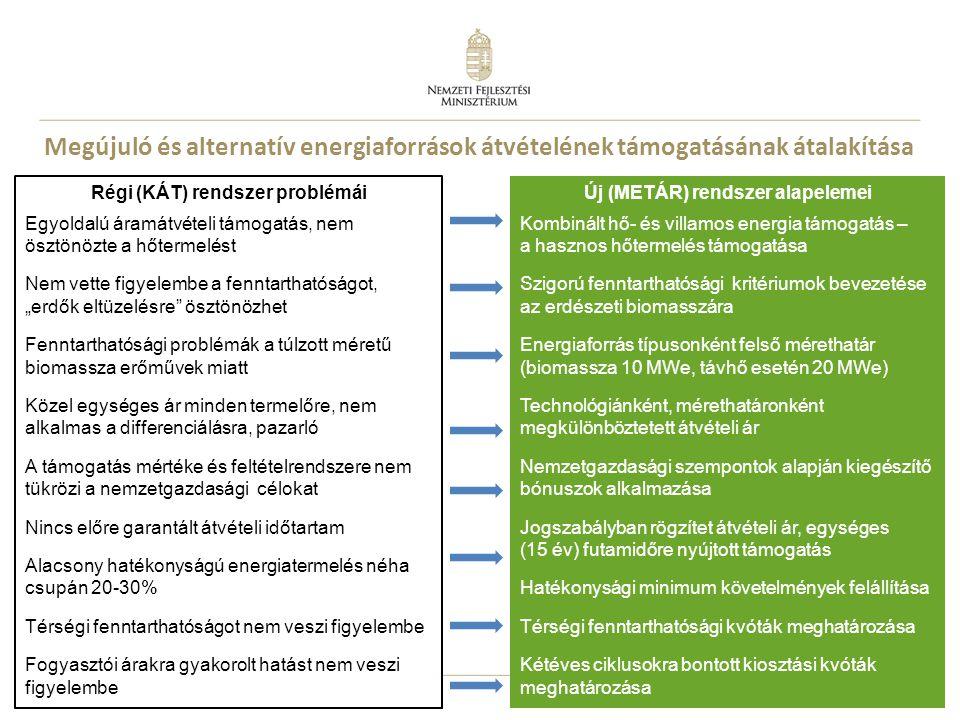 Megújuló és alternatív energiaforrások átvételének támogatásának átalakítása