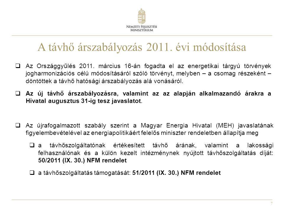 A távhő árszabályozás 2011. évi módosítása