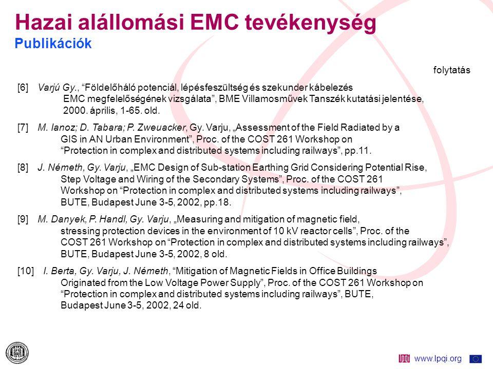 Hazai alállomási EMC tevékenység Publikációk