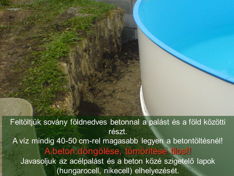 Feltöltjük sovány földnedves betonnal a palást és a föld közötti részt