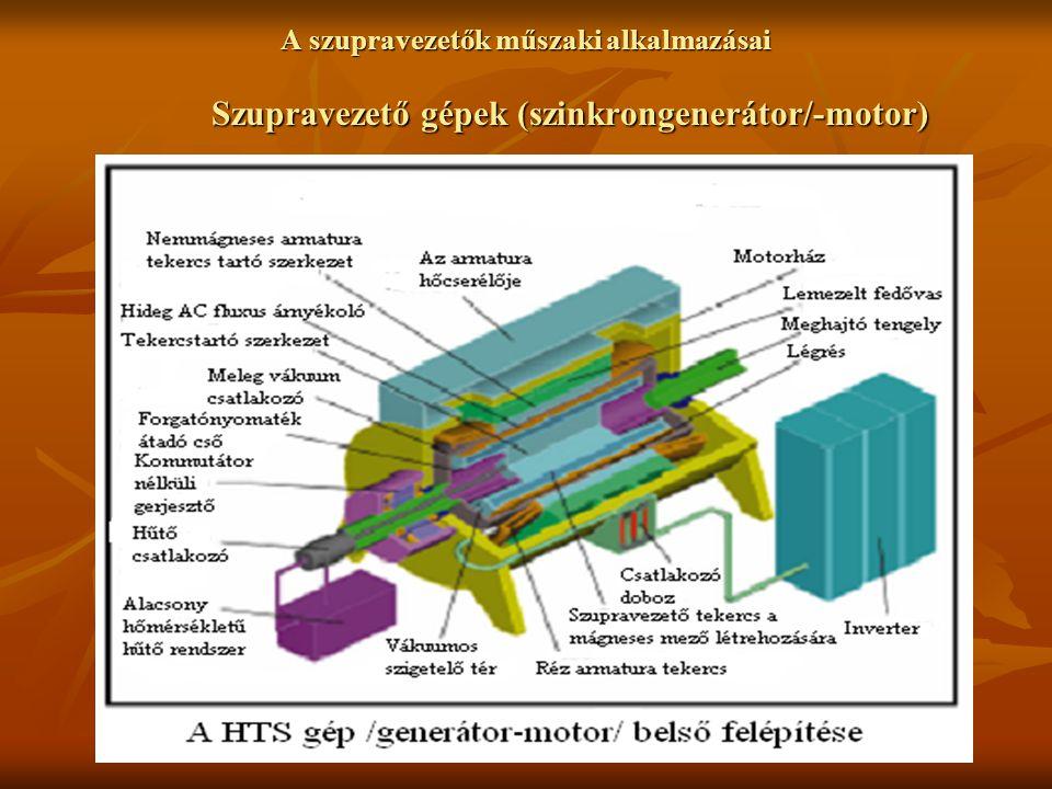 A szupravezetők műszaki alkalmazásai Szupravezető gépek (szinkrongenerátor/-motor)