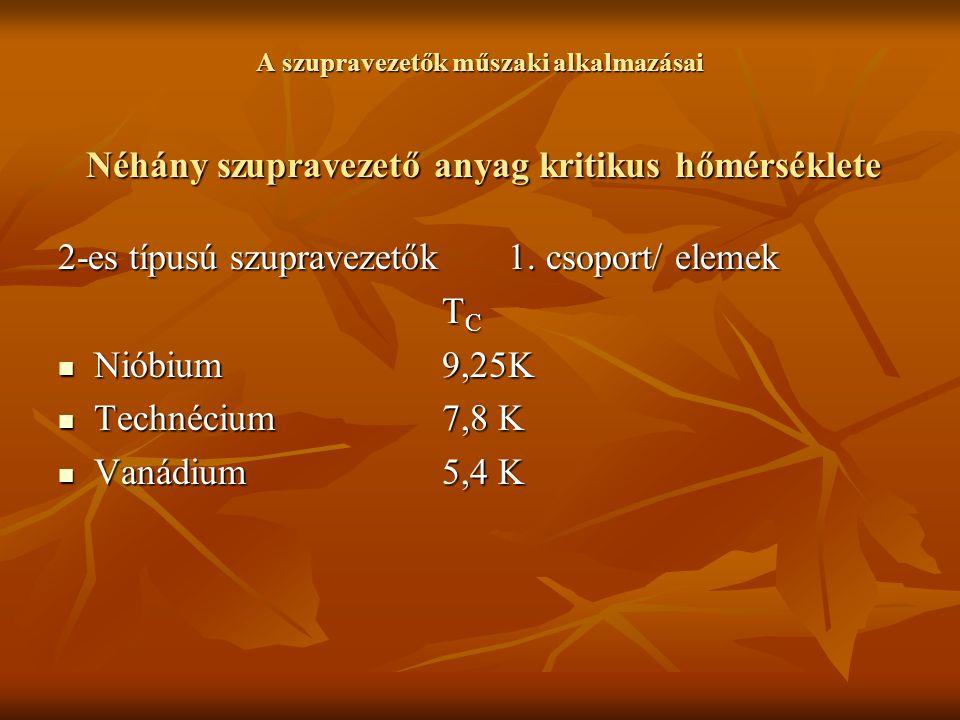 2-es típusú szupravezetők 1. csoport/ elemek TC Nióbium 9,25K