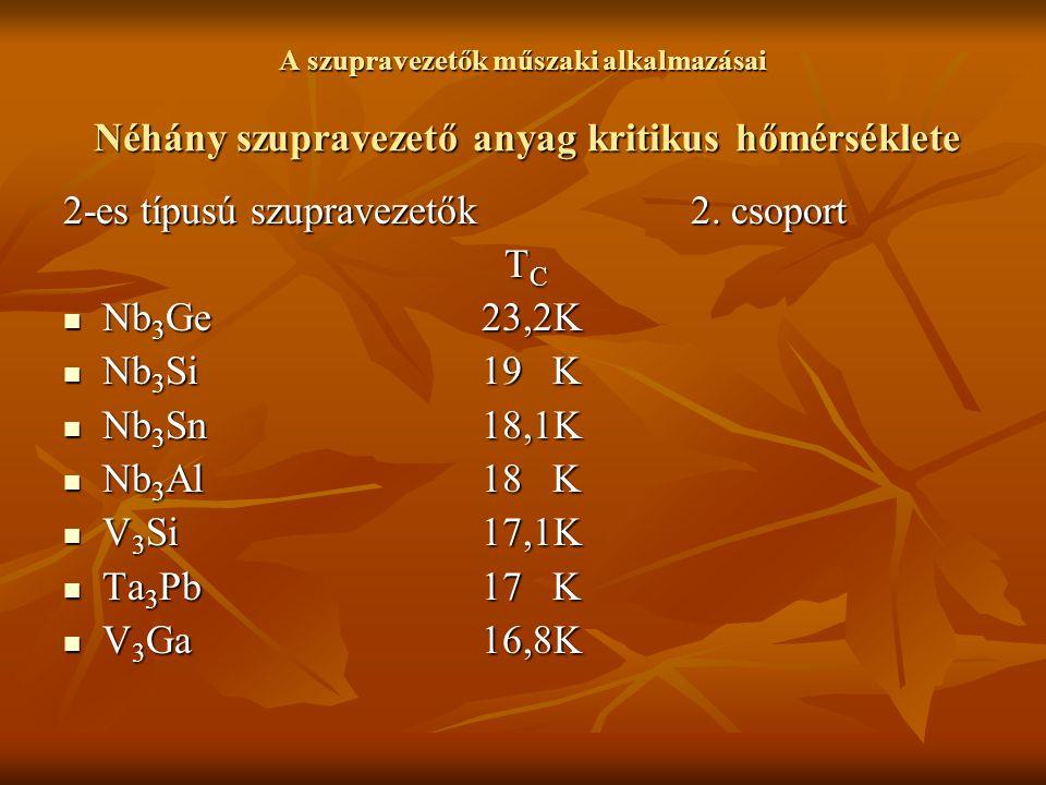 2-es típusú szupravezetők 2. csoport Nb3Ge 23,2K Nb3Si 19 K