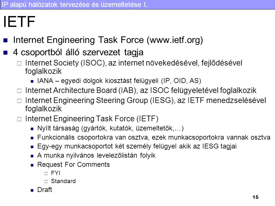 IETF Internet Engineering Task Force (www.ietf.org)