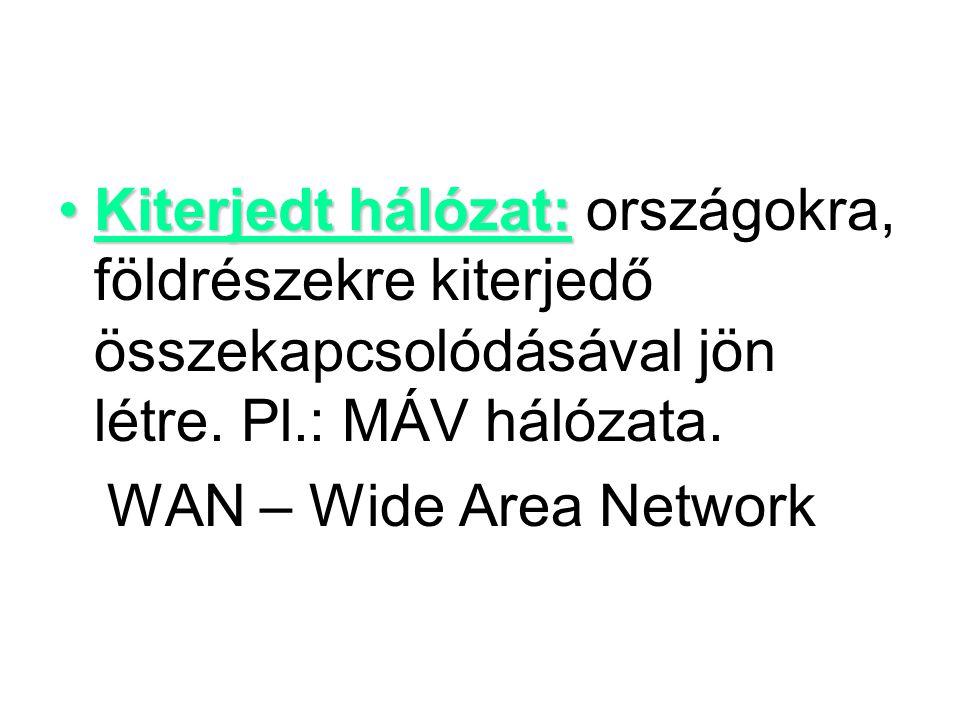Kiterjedt hálózat: országokra, földrészekre kiterjedő összekapcsolódásával jön létre. Pl.: MÁV hálózata.