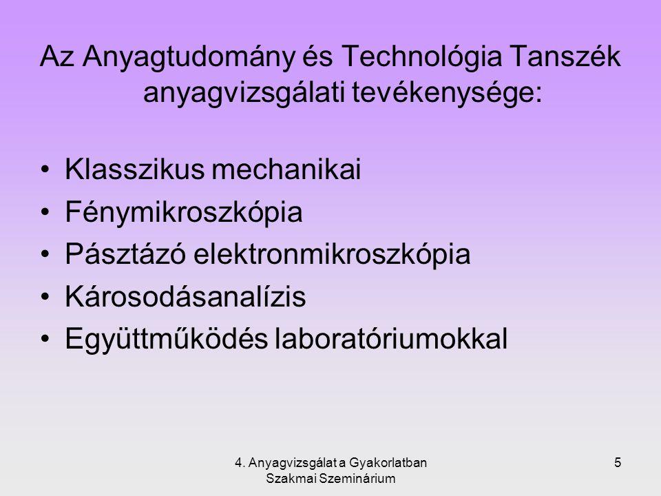 Az Anyagtudomány és Technológia Tanszék anyagvizsgálati tevékenysége: