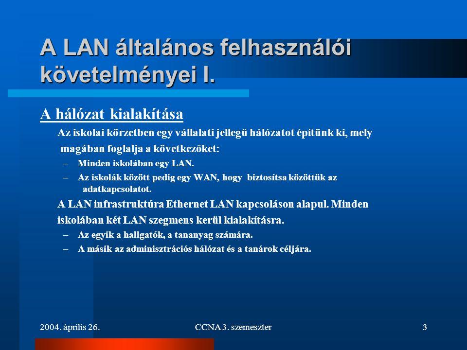 A LAN általános felhasználói követelményei I.