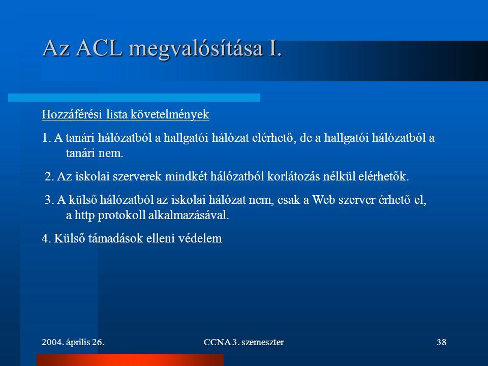 Az ACL megvalósítása I. Hozzáférési lista követelmények
