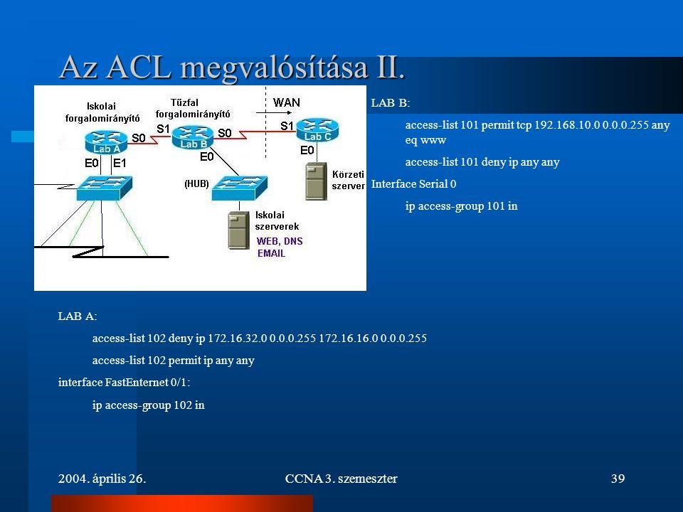 Az ACL megvalósítása II.