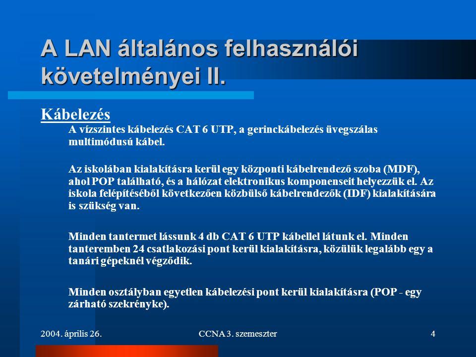 A LAN általános felhasználói követelményei II.