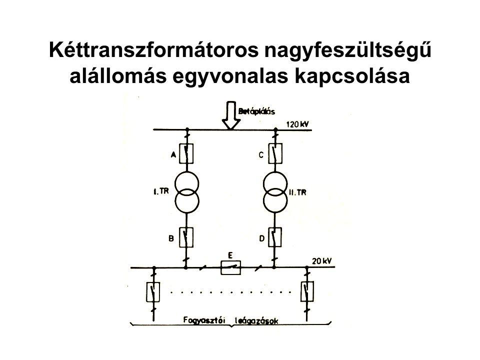 Kéttranszformátoros nagyfeszültségű alállomás egyvonalas kapcsolása