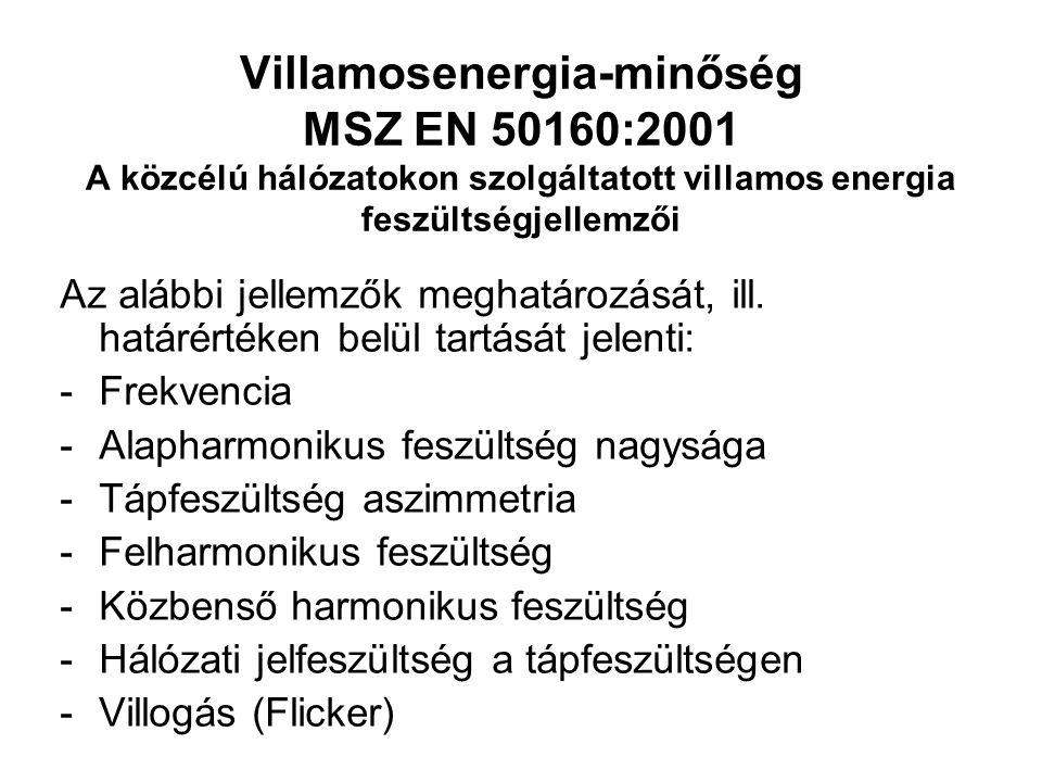 Villamosenergia-minőség MSZ EN 50160:2001 A közcélú hálózatokon szolgáltatott villamos energia feszültségjellemzői